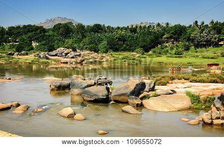 Crossing The Hampi's River, India