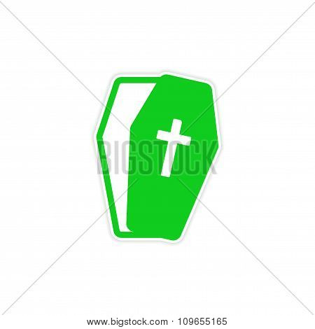 Sticker open coffin Halloween theme on a white background