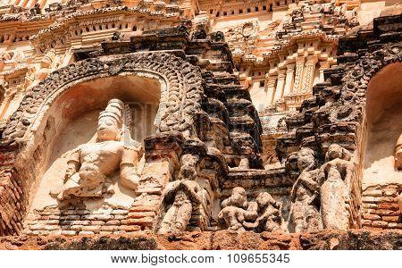 Crumbling Stone Statues At Virupaksha Temple In Hampi, India.