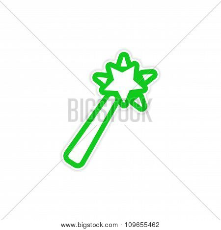 Sticker magic wand on a white background