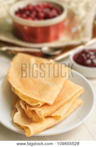 Homemade Crepes Folded In Triangles With Strawberry