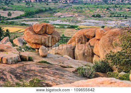 Beautiful Landscape With Large Rocks Near Hampi, India