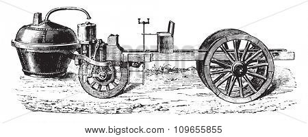 Cugnot steam car, vintage engraved illustration. Industrial encyclopedia E.-O. Lami - 1875.
