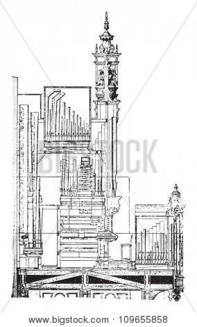 Cutting the organ of the Cathedral of Saint-Brieuc, vintage engraved illustration. Industrial encyclopedia E.-O. Lami - 1875.