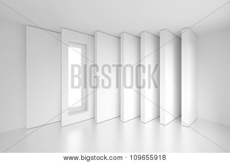 Column Interior Design. 3d White Modern Background