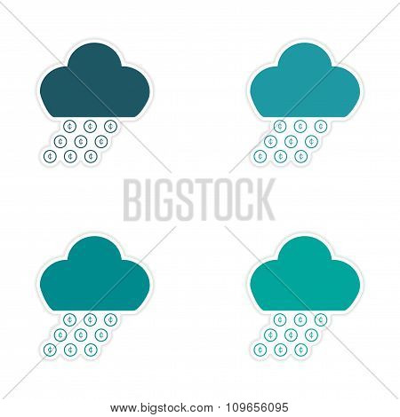 Stylish assembly sticker on paper rain cloud coins