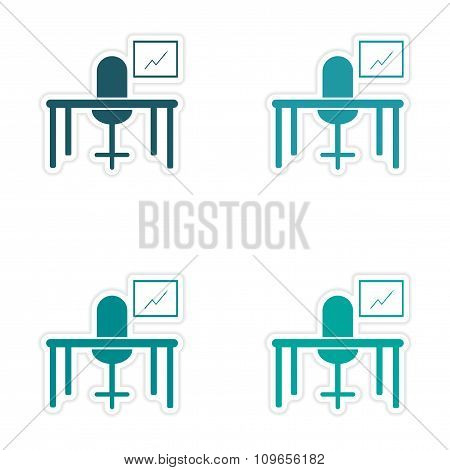 Stylish assembly sticker on paper table chair chart