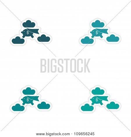 Stylish assembly sticker on paper piggy bank clouds