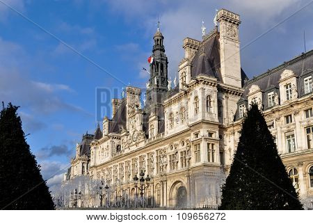 The Hotel de Ville (city hall) in Paris, France