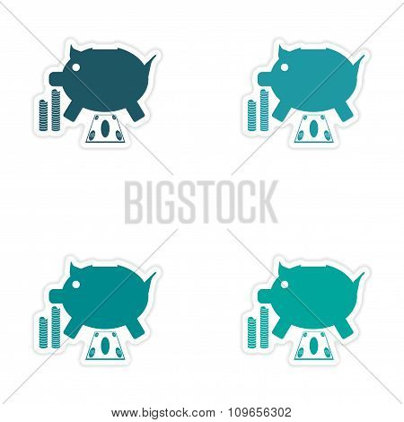 Stylish assembly sticker on paper piggy bank and money