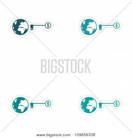 Set of stylish sticker on paper globe and key money