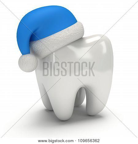 Tooth Wearing Santa Claus Hat.