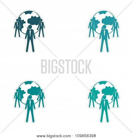 Set of stylish sticker on paper Businessmen and Earth