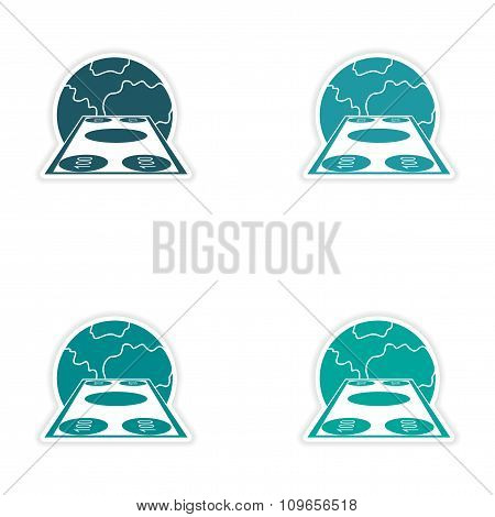 Set of stylish sticker on paper banknotes and globe