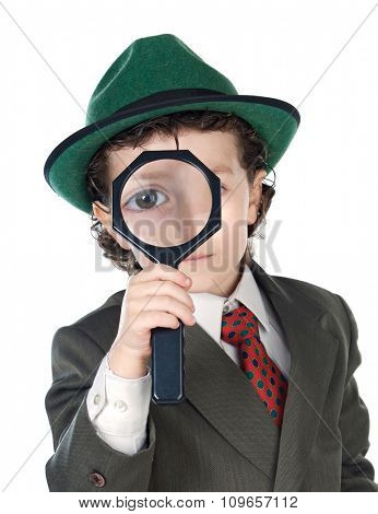 Little detective with magnifying glass to search for the mystery