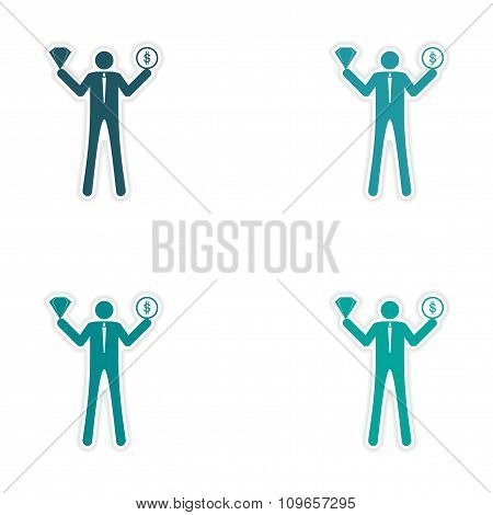 Set of stylish sticker on paper man holding diamond and coin