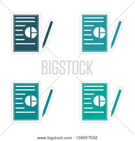 Set of stylish sticker on paper business papers and pen