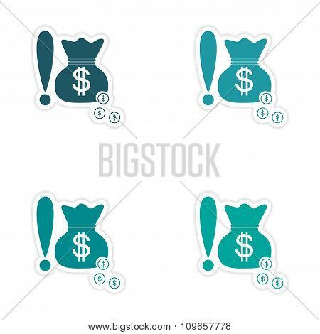 Set of stylish sticker on paper bag money and coins