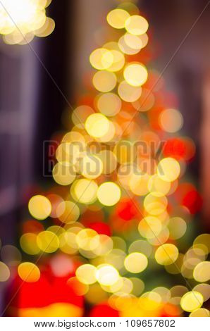 Christmas And New Year Decoration. Bauble On Christmas Tree. Abstract Christmas Background With Defo