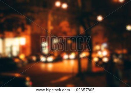 City street at night, unfocused