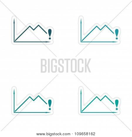 Set of stylish sticker on paper economic schedule