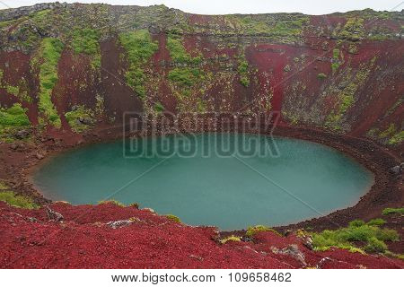 Volcanic Crater Filled With Blue Water, Iceland, Summer Time