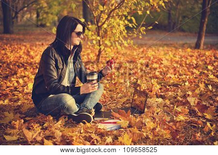 Hipster Girl With Coffee Cup And Book