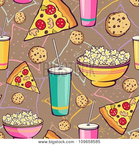 Vector Brown Slumber Party Food Seamless Pattern. Pizza. Drink. Cookie. Popcorn. Snack.