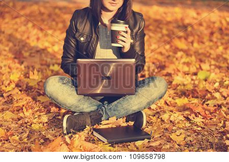 Girl Sitting On The Leaves In The Park