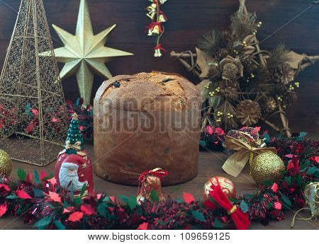 panettone, Typical Italian Christmas Cake With Butter And Raisins
