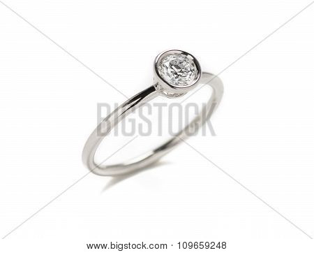 Wedding diamond ring isolated on white background