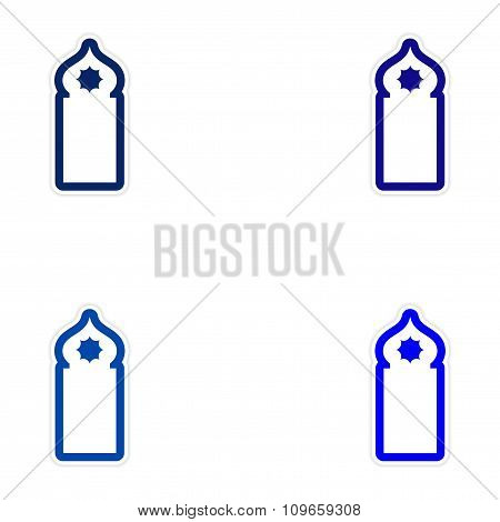 Set of paper stickers on white background Arab mosque