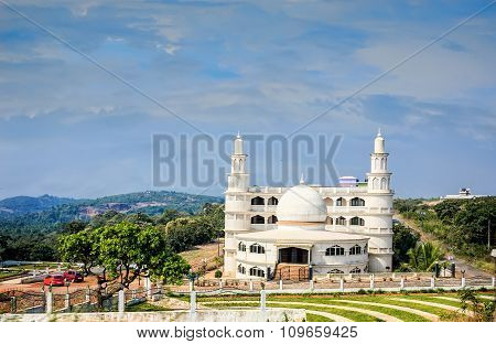 White Mosque On Sky With Clouds Background, India