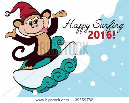 Vector Surfing New Year Monkey Holiday Greeting Card Design. Happy 2016. Celebration. Surf board.