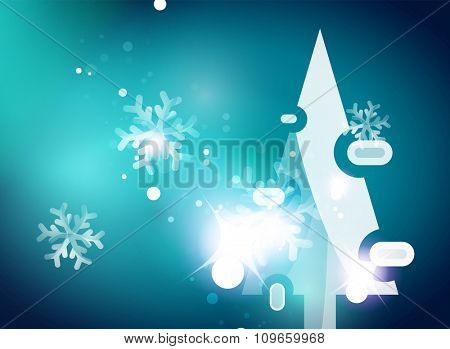 Christmas blue color abstract background with white transparent snowflakes. Holiday winter template, New Year layout