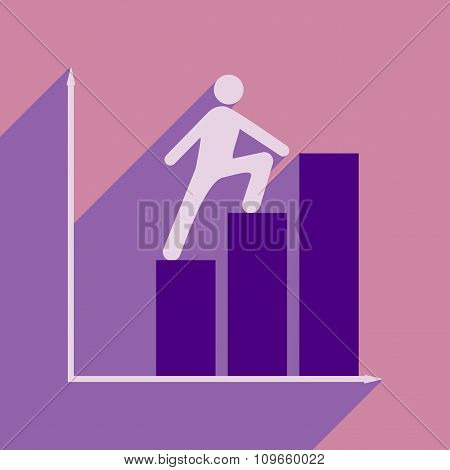Flat with shadow icon man climbs on schedule