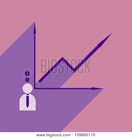 Flat with shadow icon growing graph and people