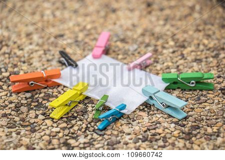 Wooden Clothespin Hanging On Rope, Depth Of Field