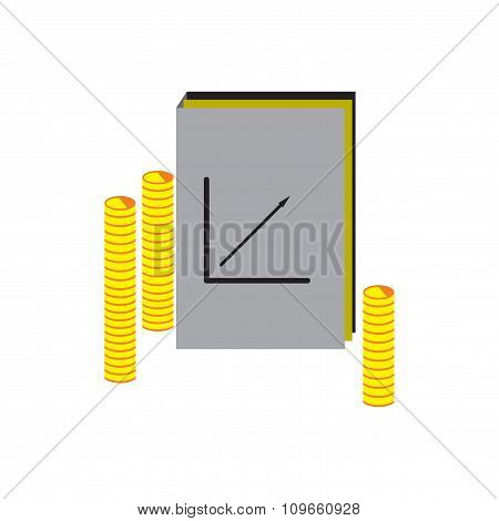 Modern flat icon Report and coins on white background