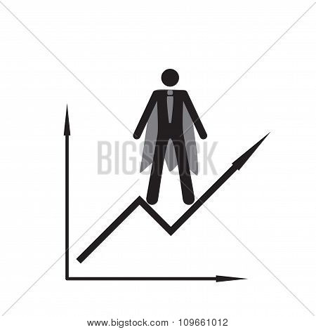 Modern flat icon man and schedule on white background