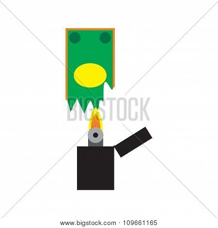 Modern flat icon  money to burn on white background