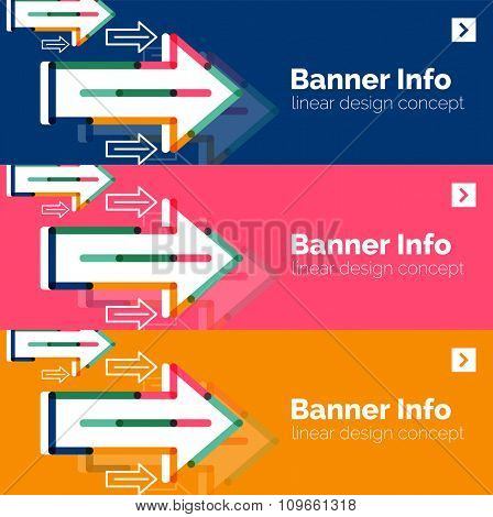 Abstract square banner template with arrows, linear design style. illustration