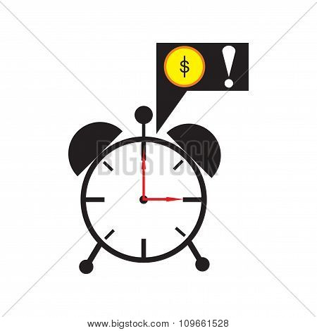 Modern flat icon alarm clock on white background