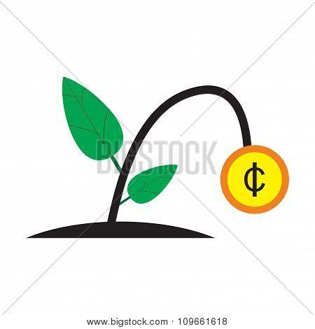 Modern flat icon money plant on white background