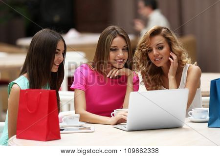 Beautiful young women with laptop in cafe