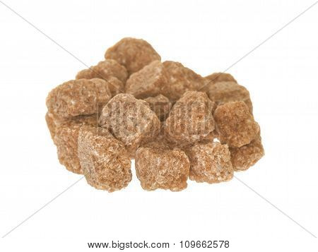 Raw Sugar Cubes Isolated On White