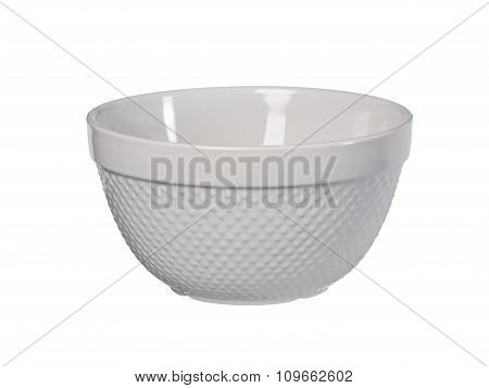 Original Sandstone Bowl With Dots Isolated On White