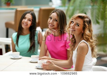 Beautiful young women in cafe
