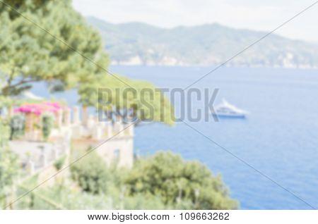 Defocused Background Of Portofino In Liguria, Italy