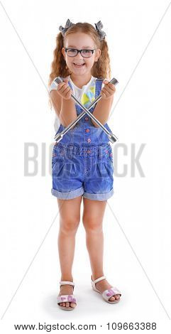 Happy girl with wrench isolated on white background